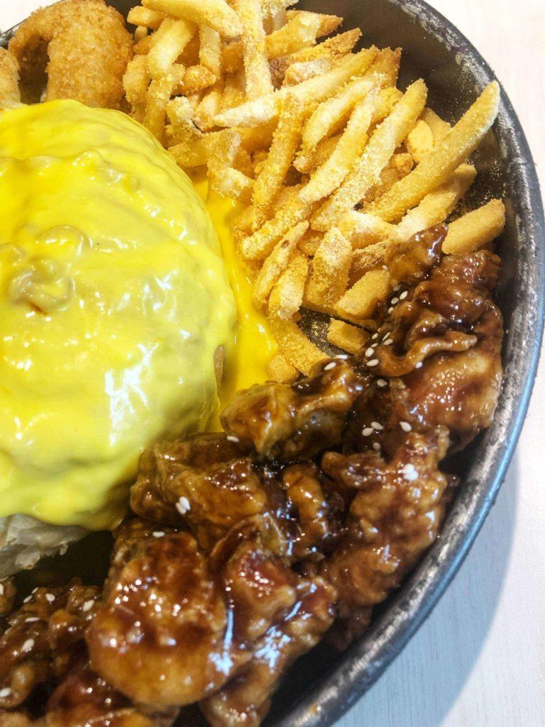 Kko Kko cheese fondue fries and chicken